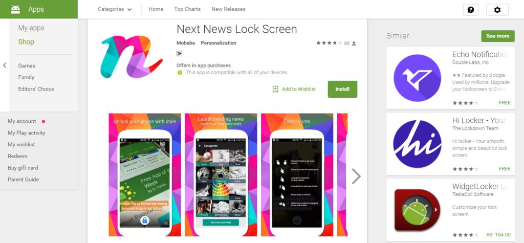 next news lock screen