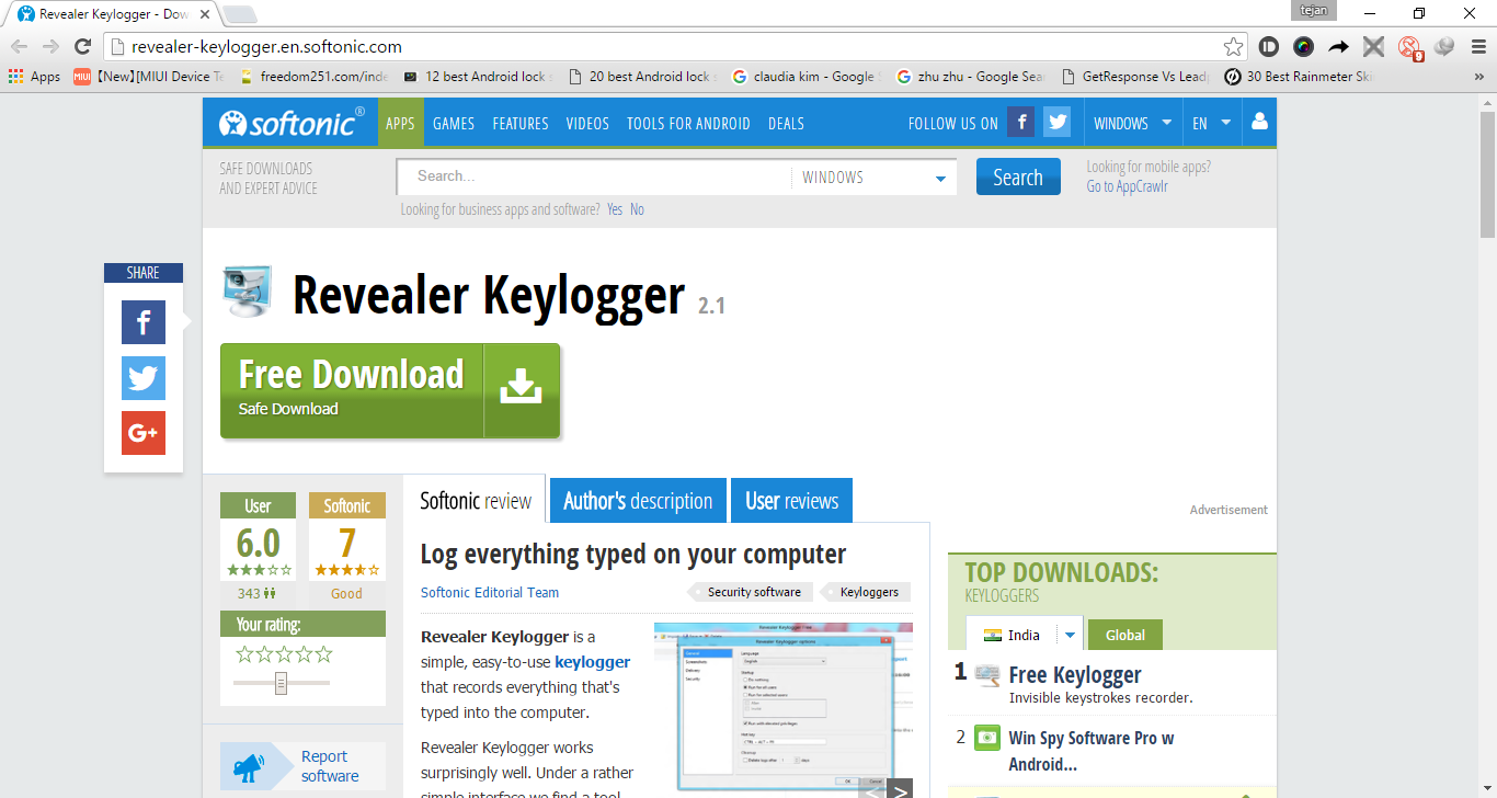 Keyloggers: Monitoring Keystrokes Made Easier - ZillionTips The free version of the revealer keylogger comes just with the basic  functionality. You can record the keystrokes entered into the computer, and  the Windows ...