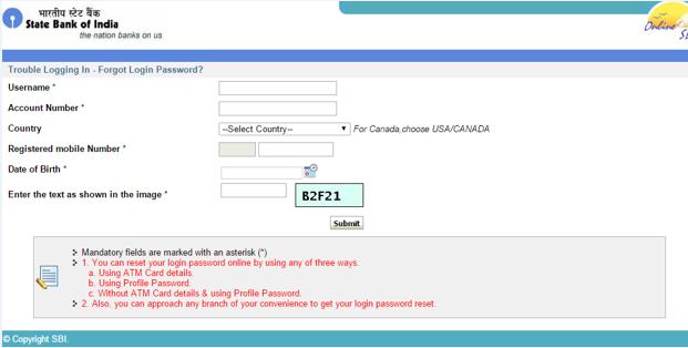 i forgot my sbi username and password