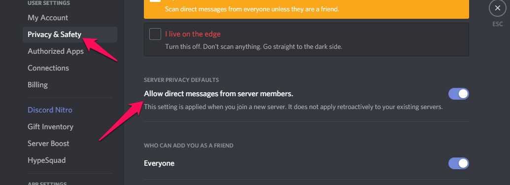 Allow direct messages from server members